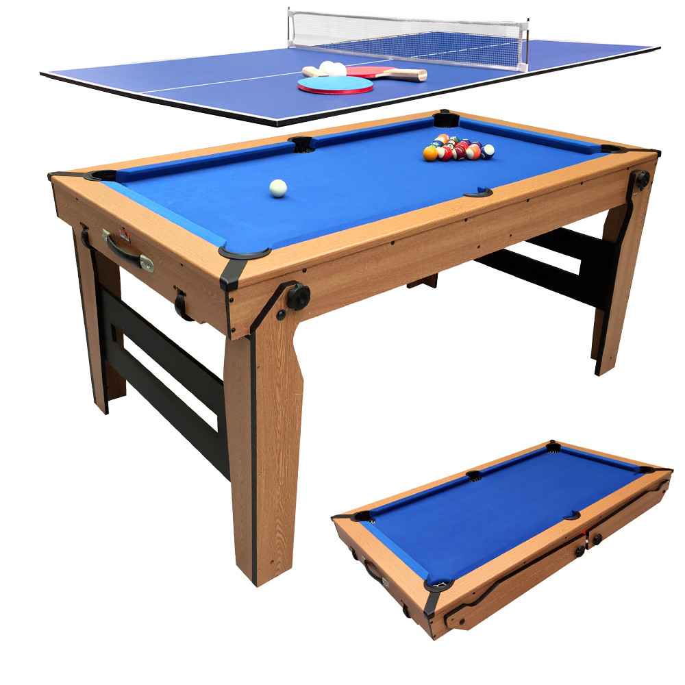 - BCE Folding 2 In 1 Pool Table - Blue Cloth/ Oak Finish 5ft With