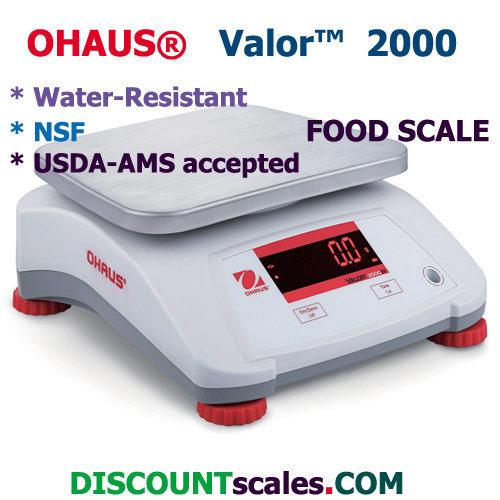Ohaus® V22XWE6T Valor™ 2000 Food Scale   (15.0 lb. x 0.002 lb.)