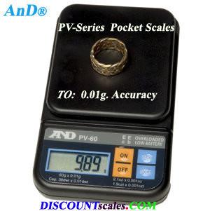 A&D Weighing® PV-500 Pocket Balance     (500g. x 0.1g.)