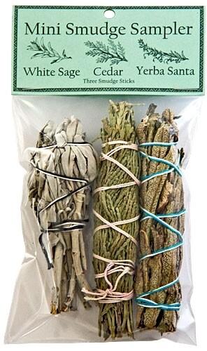 """Mini Smudge Sampler 4""""L (White Sage, Cedar, Yerba Santa) (Pack of 3)"""