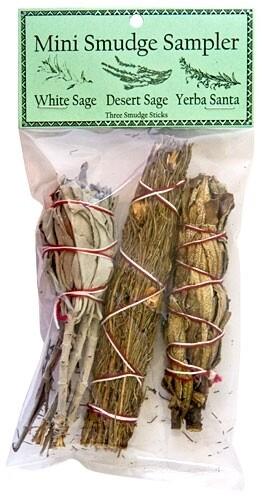 "Mini Smudge Sampler 4""L (White Sage, Desert Sage, Yerba Santa) (Pack of 3)"