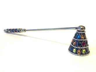 "CANDLE SNUFFER, MULTI-COLOR JEWELED (12"" x 1.75"")"