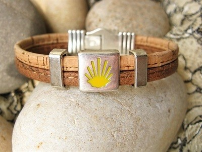 Camino de Santiago Way of St James bracelet - two tone cork