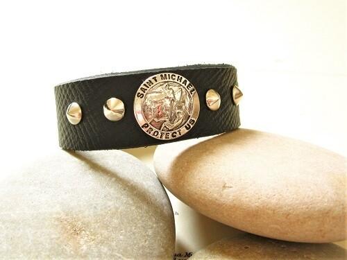 Saint Michael bracelet ~ black