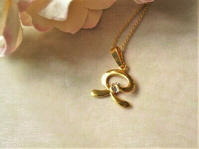 Indalo necklace ~ gold-filled, curved with zirconite