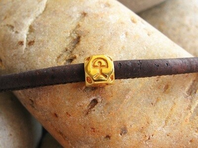 Indalo Man bead bracelet ~ gold-filled, hexagonal on cork-cord