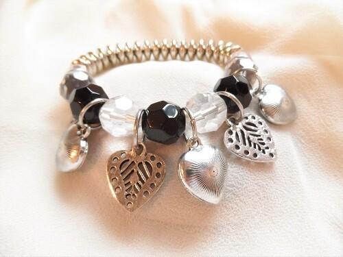 Big bold love hearts charm bracelet