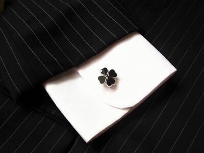 Four leaf clover cufflinks ~ black