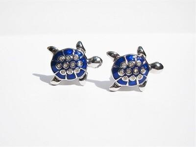 Lucky turtle cufflinks ~ blue