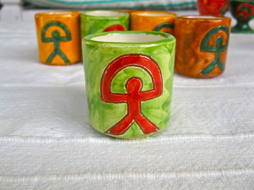 Ceramic chupito cup shot glass ~ Indalo