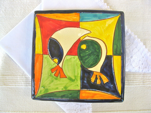 Spanish plate ~ fishy friends, square