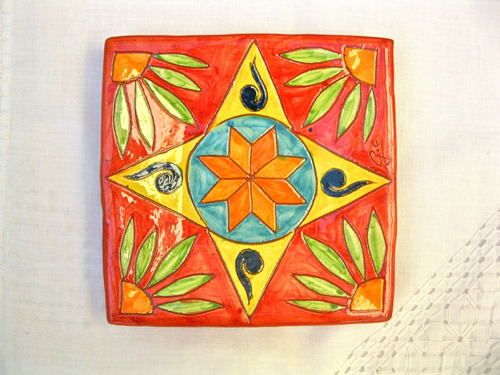 Spanish Plate ~ starflower, square