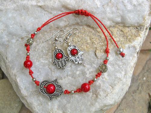 Hamsa charm bracelet + earring set