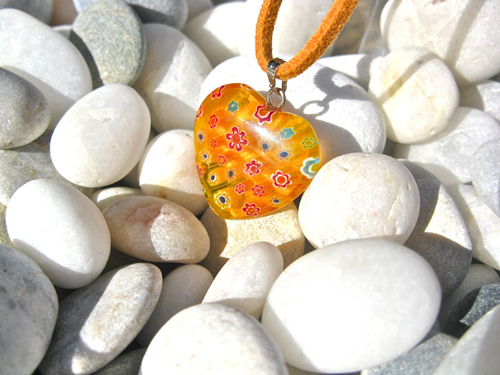 Heart necklace ~ amber glow