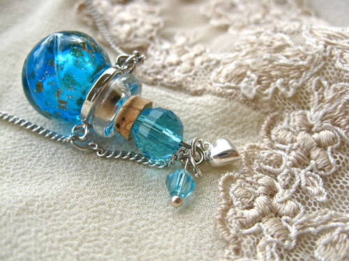 Lourdes water jewellery ~ glass vial necklace ~ turquoise