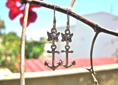 Anchor earrings with butterfly ~ silver