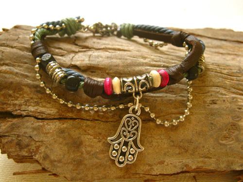 HAMSA bracelet ~ NaturalSoul, pomegranate