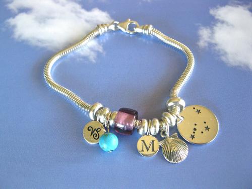 Zodiac charm bracelet, sterling silver