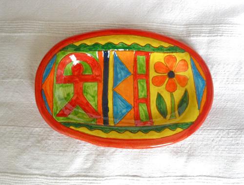 Spanish ceramic platter ~ Indalo, escalera