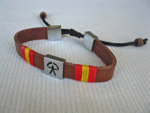 Indalo bracelet ~  leather wrapped cord strap