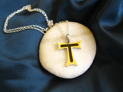 Tau Cross necklace of St Francis ~ silver + jet