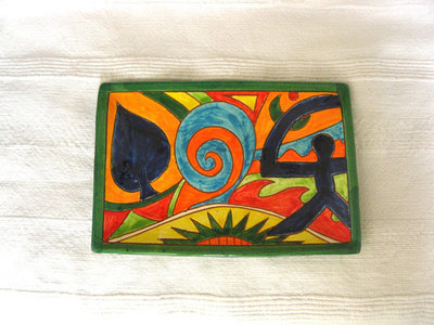 Spanish ceramic oblong plate ~ Indalo, hojas