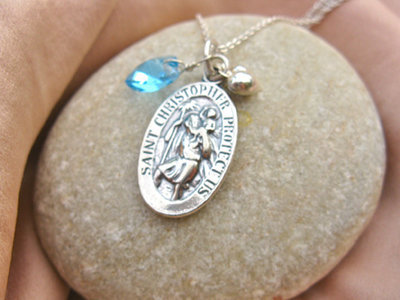 St Christopher necklace ~ 3-part, silver