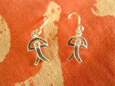 Indalo earrings ~ silver + zirconite, curved