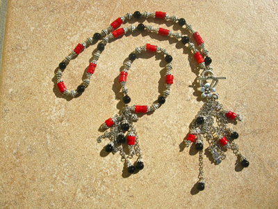 Black Agate + Coral jewellery set ft OWL