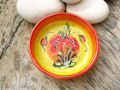 Spanish ceramic bowl ~ poppy field