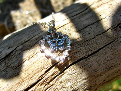 Butterfly + heart necklace
