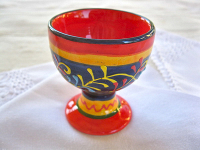 Spanish ceramic egg cup ~ honeysuckle