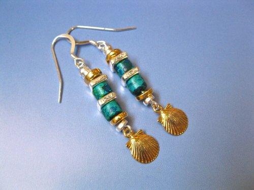 Camino de Santiago concha shell earrings  ~ golden