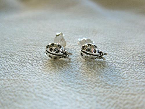 Sterling silver Ladybird stud earrings
