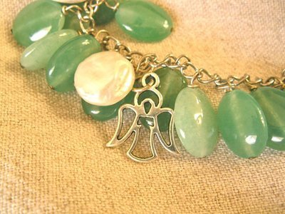 Guardian angel necklace ~ pearl and aventurine
