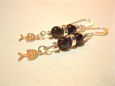 Indalo earrings ~ garnet + silver