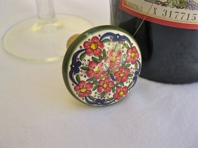 Spanish ceramic wine stoppers ~ floral series 3
