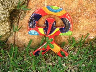 Spanish ceramic Indalo talisman, LARGE