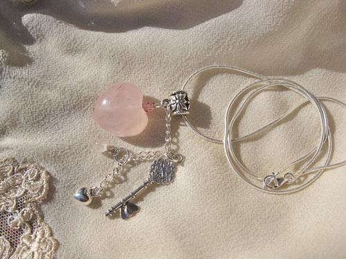 Key to my heart necklace ~ rose quartz