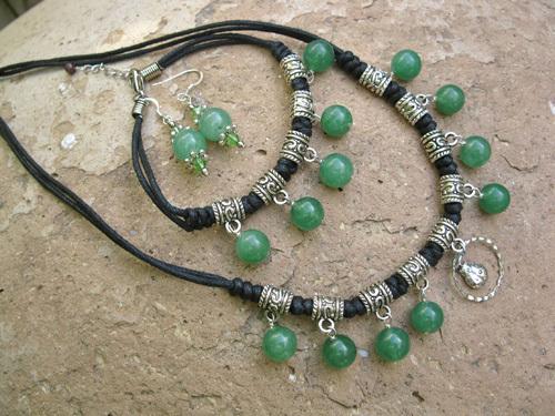 Lucky ladybird jewellery set ~ aventurine