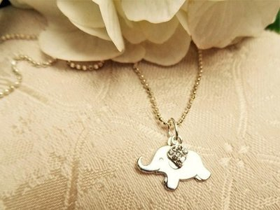 Lucky elephant necklace + CZ heart