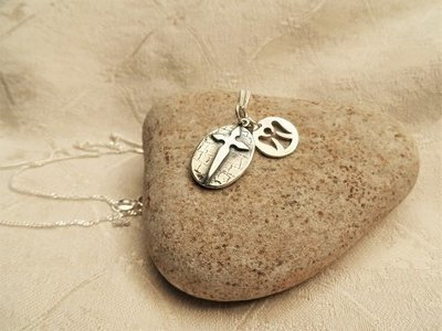 Santiago cross with Angel charm for safekeeping