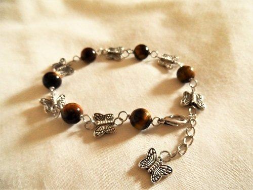 Butterfly charm bracelet ~ Tigers Eye