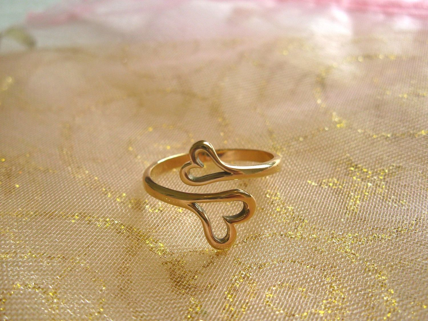 Natural bronze double-heart ring ~ adjustable