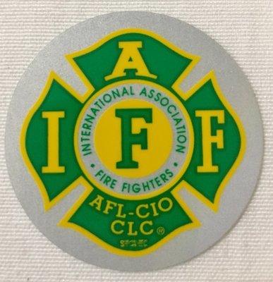 Helmet Sticker IAFF Green Yellow