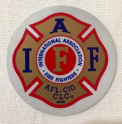 Helmet Sticker IAFF Gold Red Blue