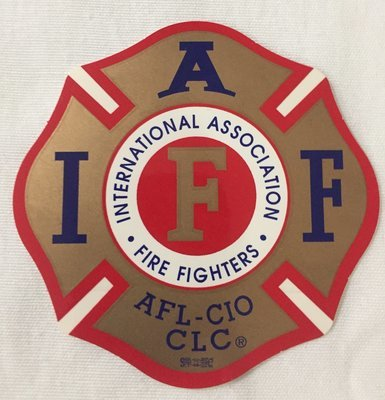 Vehicle Sticker IAFF Gold Red Blue