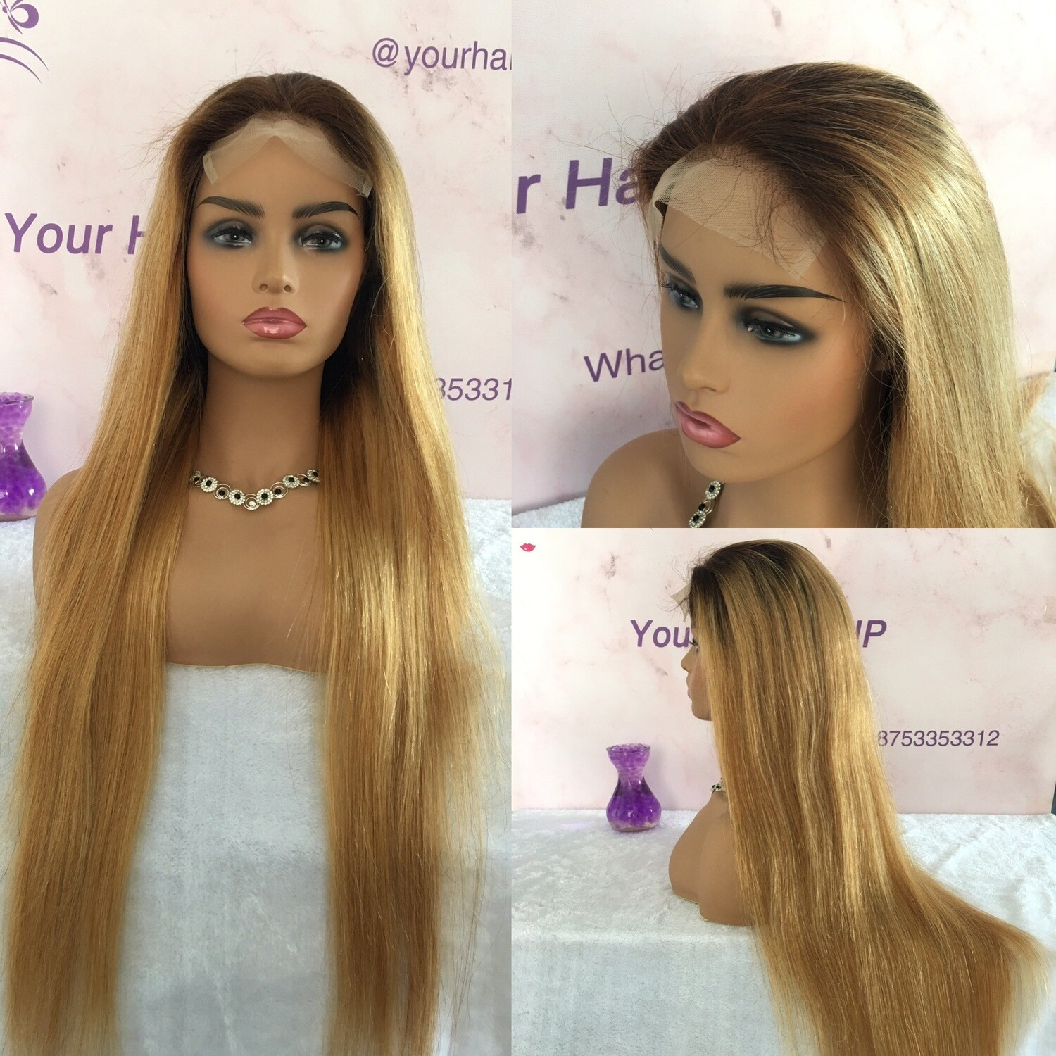 Standard Closure Wig thick long hair honey blonde T4/27 straight Lace Wig