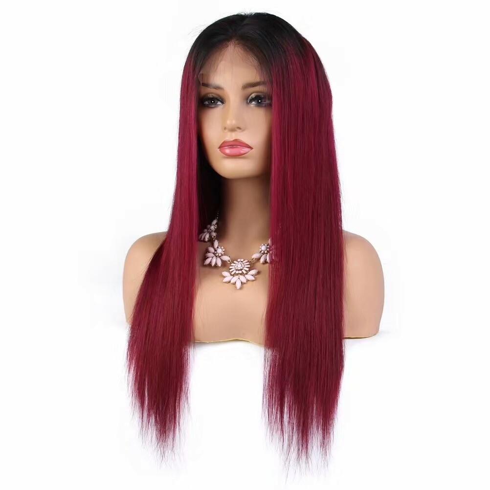 T1B/ Burgundy Color Straight 13x 4 Lace Frontal Wig 130 Density