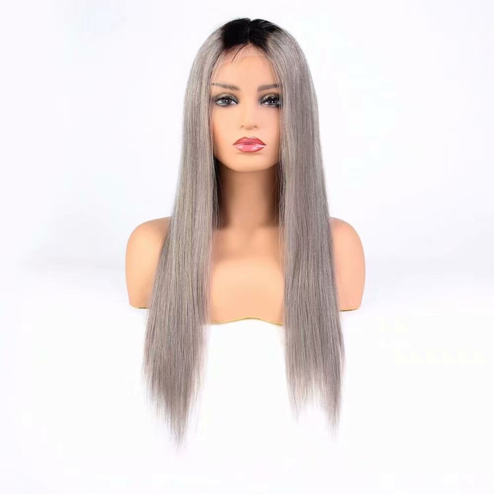 T1B/ Grey Color Straight 13 x 4 Lace Frontal Wig 130 Density Indian Virgin Hair
